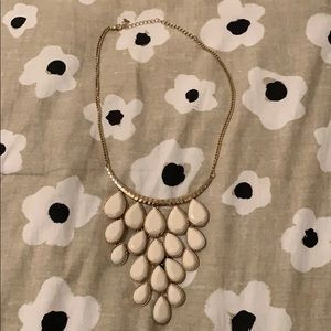 White and gold bubble bib chunky necklace